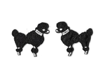 Poodle - Dog - Black - Embroidered Iron On Patches - Set Of 2 - SMALL