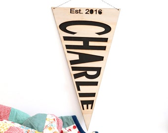 Personalised wood/timber pennant flag name wall or door hanging pennant - newborn name monochrome nursery art decor