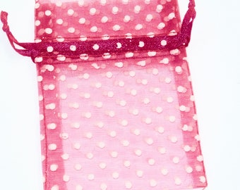 10cm x 8cm organza gift pouch - pink with white polka dots