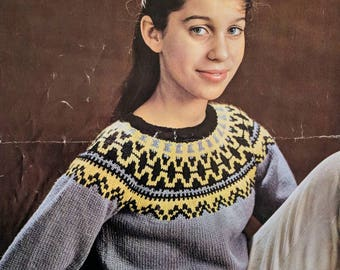 P&B Wools Norwegian Traditional Circular Yoke Children's / Youths  Jumper Ages 10-15 years