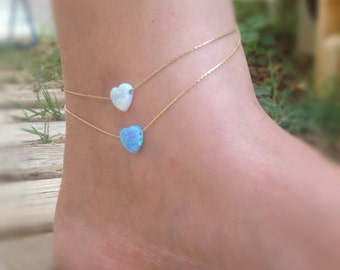 Opal anklet, heart ankle bracelet, beach anklet,opal heart anklet,opal jewelry,gold anklet,gift for her-22000