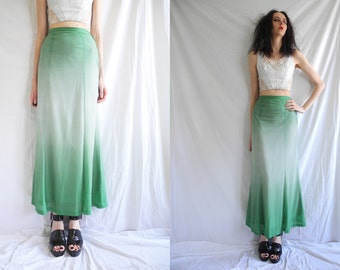 60s mod green and white spot/polka dot print hombre jersey maxi skirt.