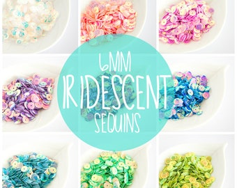 6mm Iridescent Sequins. Embellishment sequins - 7g a pack