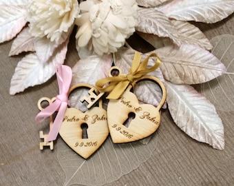 130 Heart and Key Wedding Favors Skeleton Key Favor Love lock