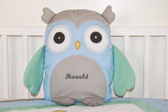 Owl Pillow Plush Animal, Stuffed Bird, Decorative Cuddly Toy, Toddler Gift, Baby Shower Gift