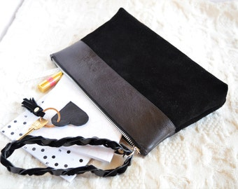 Ivy. Leather Pouch. Leather Wristlet Clutch. Leather Bag. Black Leather Clutch. Black Leather Pouch. Leather Bag
