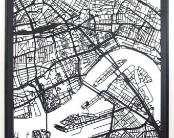 Citymap Rotterdam Netherlands - 60 cm x60 cm - lasercut - Black MDF wood