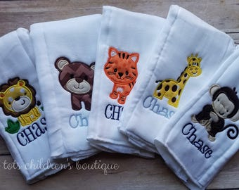 Set of 5 Personalized Burp Cloths - Animal Embroidered Burp Cloth Set - Monogram - Applique - Newborn - Baby Shower Gift - Baby Boy