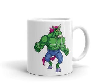 Unicorn Mug - unicorn coffee mug. badass, cup, cool, raging, rage, fury, funny, muscular, gift, bestfriend gift, tea, action figure,