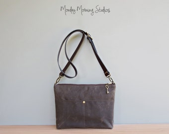 Crossbody Shoulder Bag in Seal Brown, Waxed Canvas Handbag, Canvas Bag with Custom Length Leather Strap, Plus Size Cross body Purse