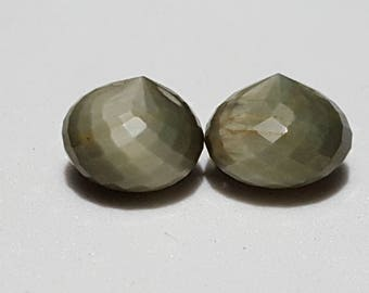 One Matched Pair Natural Chrysoberyl/Green Cats Eye Faceted Onion Beads