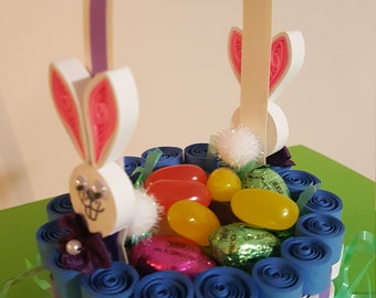 easter baskets, paper baskets, paper quilling, miniature baskets