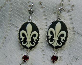 Fleur-de-Lis Cameo Earrings, Fleur-de-Lis Cameo, Black & Ivory, New Orleans Saints, French, France, Paris, Parisian, Chic, silver plated