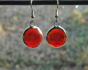 Red Glass Jewel Earrings