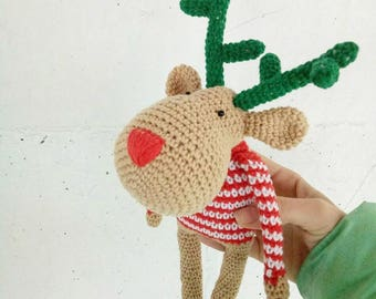 Christmas deer, Deer Plush, Deer Stuffed Animal, Crochet Deer, Christmas deer plush toy, deer amigurumi, cute deer toy, amigurumi animals