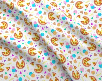 Memphis Style Pizza Fabric - Pizza Party By Seesawboomerang - Memphis Style Pizza Party Colorful Cotton Fabric By The Yard With Spoonflower