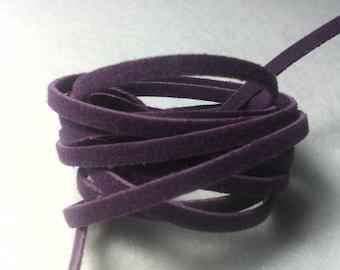 1 meter of flat suede cord / violet / 2 x 1 mm