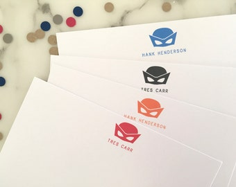 Superhero Mask Stationery - Personalized Boys Stationary Birthday Thank You Notes Set of 20 Flat Note Cards