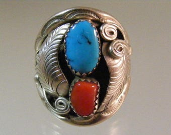 Large Vintage Native American Mens Turquoise and Branch Coral  Ring in Sterling Silver .....  Lot 5533