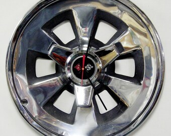 1965 Chevrolet Corvette Spinner Wall Clock - Chevy Vette Hubcap Clock - Father's Day Gift For Him