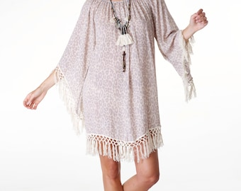 SALE - Bohemian Cheetah Leopard Animal Print Dress Top / Tunic with Fringe Details. Bohemian Festival Beach Party Dress