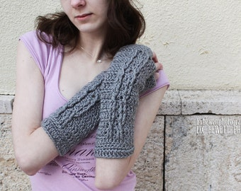 Soft Heather Grey Cabled Fingerless Gloves Crochet Gray Arm Warmers Women's Hand Warmers Wrist Warmers SalutationsCrochet