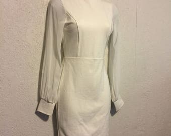 Vintage 1990s White Stretch Bodycon Dress with Sheer Sleeves, Open Back