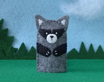 Raccoon Finger Puppet - Felt Woodland Animal Puppet - Felt Finger Puppet Raccoon - Toy Raccoon Puppet
