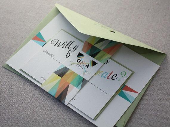 Wedding Invitations Eco Friendly: Modern Geometric Eco-Friendly Wedding Invitation Sample