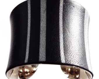 Black and Silver Pinstripe Leather Cuff Bracelet - by UNEARTHED