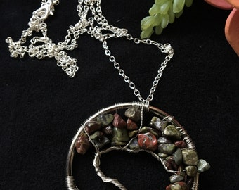 Dragons Blood Jasper Tree of Life Necklace
