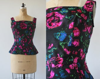 vintage 1960s blouse / 60s watercolor top / 60s sleeveless shell top / 60s peplum blouse / 60s floral glitter shirt / size small 26 inch