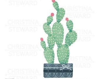 Potted Cactus Clip Art, Plant Clip Art, Cactus Illustration, PNG, Instant Download, Digital Download, Commercial Use, Digital File