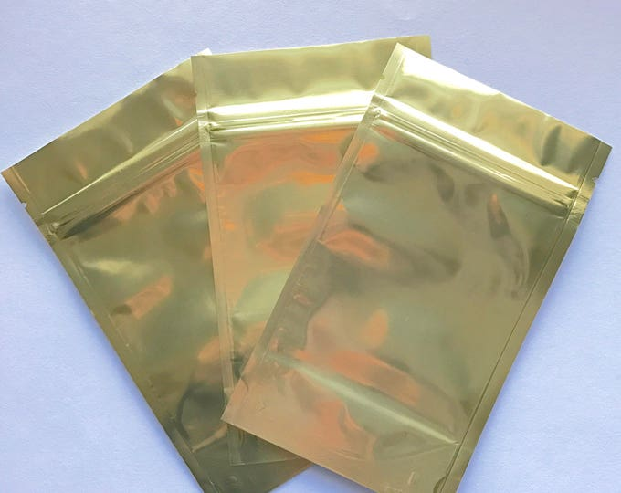 100-GOLD/CLEAR Foil Stand Up Pouches, 3 Sizes to Choose From, Heavy Duty 5.4mil, Tear Notch, Zipper Seal, Impulse Sealable, Two Wild Hares