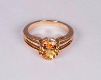 14K Yellow Gold Orange Sapphire Ring, size 6.25