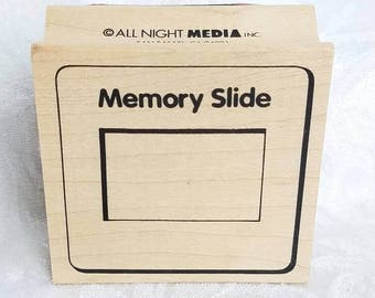 Memory Slide Stamp Vintage Rubber Stamp by All Night Media Slide Stamp Vintage Frame Stamp, Wood mounted, Retro STamp Small Frame Stamp,
