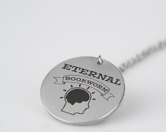 Eternal Bookworm Necklace - Bookworm Charm - High-Grade Laser Engraved Stainless Steel Bookworm Jewelry