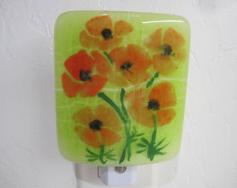 Fused Glass Night Light, Poppies on Field of Green