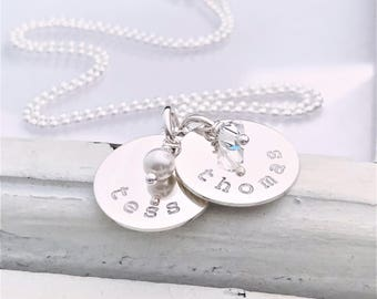 Personalized Jewelry Necklace . Hand Stamped Personalized Jewelry Necklace - Brag About It - Tiny Brag With Birthstone