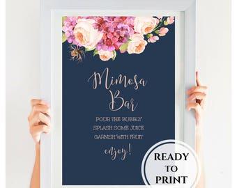 Mimosa Bar Sign, Bridal Shower Sign, Gold Wedding Sign. Navy Wedding Sign, Bridal Shower Decor, Pink Peonies, SKU# IDWS502_03S