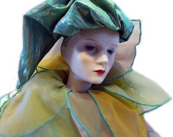 """Bisque Silvestri Harlequin Jester Doll Turquoise & Gold Large 28"""" Tall 1980's"""