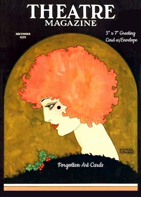 "Theatre Magazine, Greeting Card, + Envelope, 5""x7"", Blank Inside, redhead, black, orange, Forgotten Art Cards, Pretty Girl Postcards"