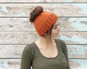 Messy Bun, Adult Pumpkin Hat, Messy Bun Hat, Chunky Messy Bun Hat, Messy Bun Beanie, Ponytail Hat, Ponytail Beanie, Knit Ponytail Hat