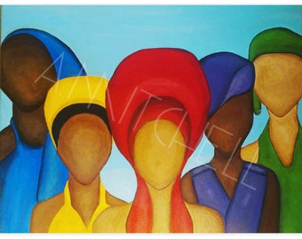 Let It Go x 4 Canvas Print 20 x 24/Black Art/Erykah Badu/ Acrylic Painting/Digital Print/Prints/Canvas Art/Queen/Natural Hair/Locs
