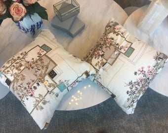 In Full Bloom Vintage Cherry Blossom Print Pillow