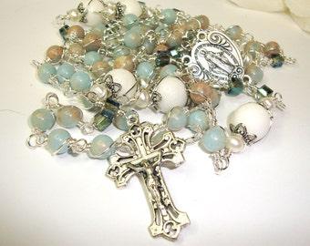 Catholic rosary, miraculous,wire wrapped, unbreakable, Abundant Grace Rosaries, Indylin, terra cotta gemstones,