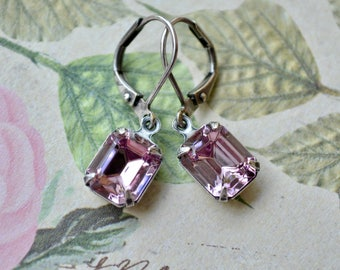 Pale Rose Pink Earrings, Small Square Earring, Vintage Glass Stone Jewelry, Light Amethyst Swarovski Earrings, Silver Leverback, Small Gifts