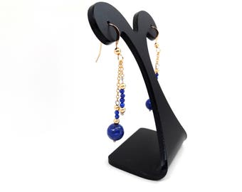 Boucles d'oreilles Lapis-lazuli – Or jaune*, chaine fine, billes Or 14 ct*, pierres fines naturelles, semi-précieuses, bijou artisanal