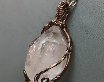 Wire wrapped Quartz necklace - Handmade - Boho - Bronze - Bohemian - Crystal