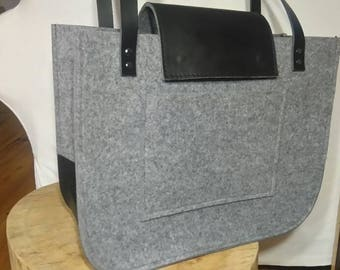 Felt and leather bag, Grey felt tote bag, Tote, big size, for shopping, genuine leather handles, tote bag, tote felt, black leather, handbag